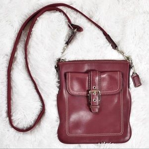 Vintage Coach Red Leather Crossbody Purse Bag